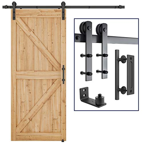SMARTSTANDARD 6.6 FT Heavy Duty Sturdy Sliding Barn Door Hardware Kit, 6.6FT Double Rail, Black,...