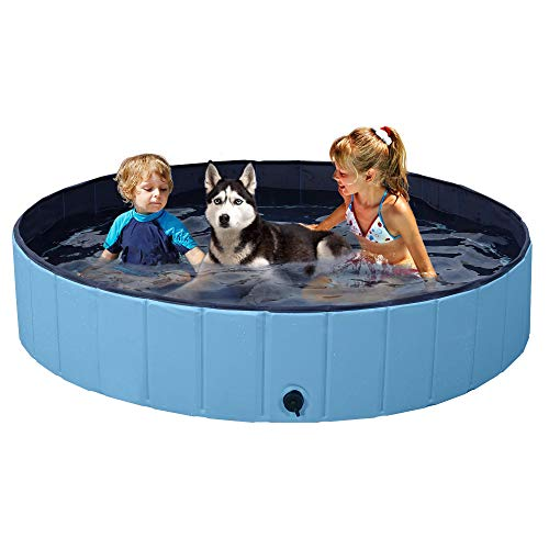YAHEETECH Blue Foldable Hard Plastic Kiddie Baby Dog Pet Bath Swimming Pool Collapsible Dog Pet Pool Bathing Tub Kiddie Pool for Kids Pets Dogs Cats-55 x 12 inch, XL