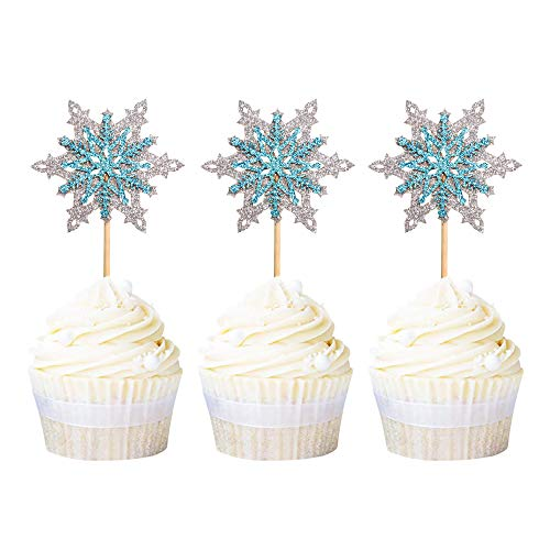 Ercadio 24 Pack Snowflake Cupcake Toppers Double Layers Silver and Blue Winter Theme Cupcake Picks Baby Shower Kids Birthday Party Christmas Cake Decorations Supplies
