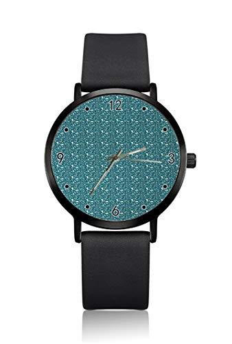 Reloj de Pulsera para Hombre, diseño Floral, Color Azul Marino y Turquesa, Carcasa Ultrafina, Correa de Esfera analógica Minimalista, Movimiento de Cuarzo japonés para Hombre