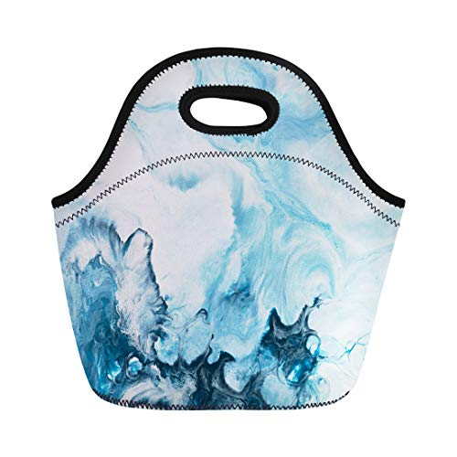 Semtomn Lunch Tote Bag Watercolor Blue Marble Abstract Hand Painting on Canvas Contemporary Reusable Neoprene Insulated Thermal Outdoor Picnic Lunchbox for Men Women