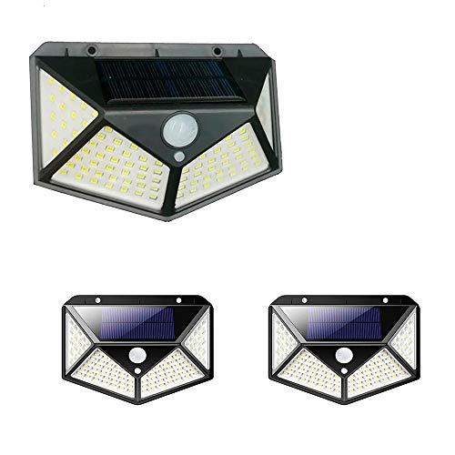 Luminária Energia 3 Unidades Solar Parede 100 Led Sensor Presença 3 Funções Lampada