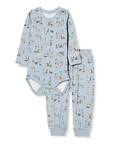 NAME IT Baby-Jungen NBMKIMO LS Set Body, Ashley Blue, 80