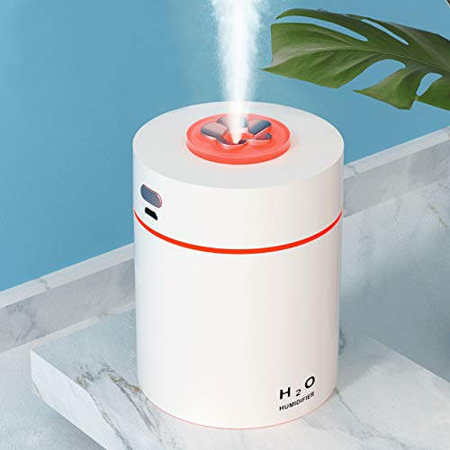 KJRIVER Mini Humidifier, Ultra Quiet Humidifier, Pure Enrichment 240ml Small Portable Humidifier, Cool Mist, for Car Bedroom Office Desk Travel Plant, Automatic Shut-Off Optional Night Light White