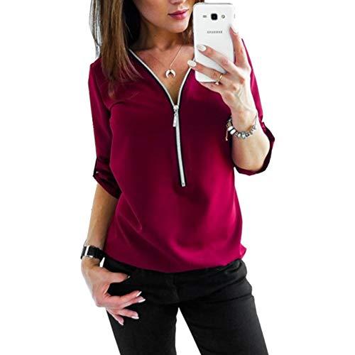 Camisa de Blusa para Mujer Media Manga Tops Camisa Elegante Camiseta con Cremallera Cuello en V con Cremallera-Wine Red-M