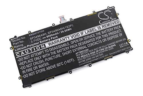vhbw Li-Ion batería 8000mAh (3.7V) para Netbook Pad Tab Tablet Google Nexus 10, N10 y SP3496A8H, SP3496A8H(1S2P), HA32ARB.