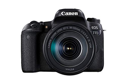 Canon EOS 77D DSLR Digitalkamera - mit Objektiv EF-S 18-135mm F3.5-5.6 IS USM (24,2 Megapixel, 7,7 cm (3 Zoll) Display, APS-C CMOS Sensor, Full-HD) schwarz
