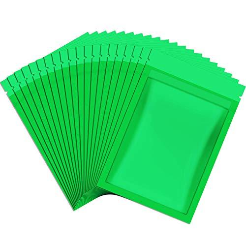 100 Pièces Sacs Refermables Anti-Odeur Sac de Pochette en Aluminium Sac Plat Ziplock pour Faveur de Fête Stockage de Nourriture (Vert, 3 x 4 Pouces)