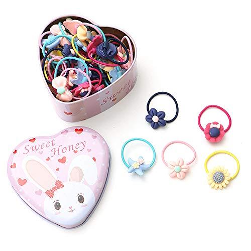 Gobesty Elastici per capelli per bambine, 40 pezzi Fasce Elastici per Capelli on scatola di ferro a forma di cuore (stile casuale)