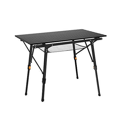 Jkykpp Mesa plegable portátil para acampar al aire libre, mesa plegable de aluminio ligera con cinturón de transporte, se puede utilizar para exteriores, playa, pesca, viajes, negro