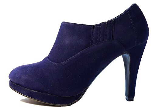 Auffallende Halbhohe Stiletto Pumps High Heels Stiefel. Damenschuhe, Schuh für Damen. Raffiniert geschnitten. EIN echter Hingucker-Schuh. STI203. Blau/violett. Größe 38.