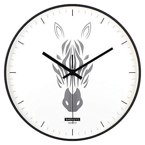 qwertyuio Relojes de Pared Estilo nórdico Reloj de Pared de 12 Pulgadas - Movimiento de Cuarzo silencioso sin tictac - para decoración de Oficina en casa - Funciona con Pilas, Zebra