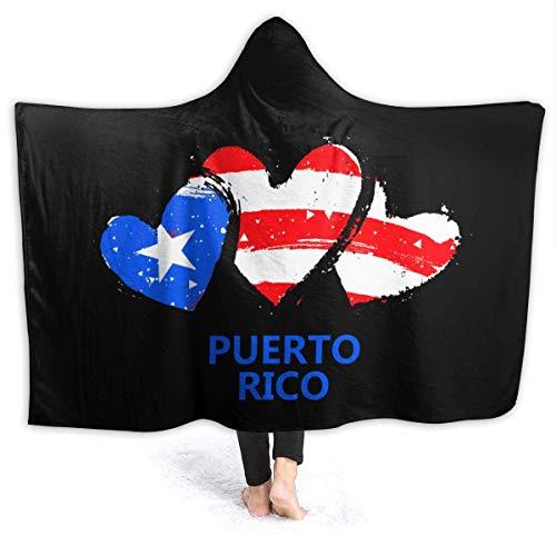 AEMAPE Bandera de Puerto Rico con Manta con Capucha de corazón Mantas Suaves Manta de Lana para niños, Adultos 50x40in