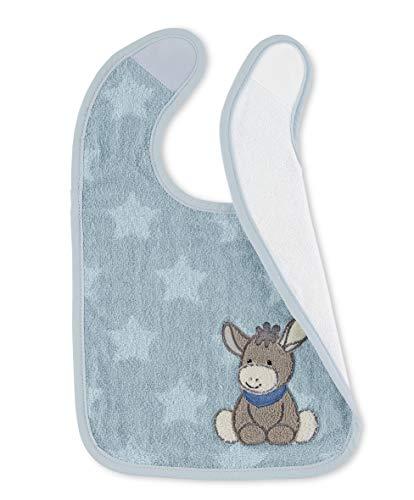 Sterntaler Bavoir en Plastique avec Velcro, Âne Emmi, Taille : 38 x 26 x 1 cm, Bleu Clair