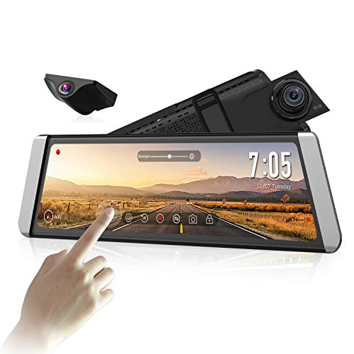 """AUTO-VOX Upgrade Mirror Dash Cam Backup Camera Kit Dual Lens 9.88"""" Full Touch Screen Stream Media AHD Reverse Camera,1296P FHD Front Camera, and 720P Rear View Recorder Dash Camera with LDWS, GPS AUTO-VOX backup camera"""