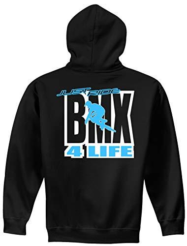 Just Ride BMX 4 Life Youth Hoodie Sweat Shirt Bicycle Bike (YL (14-16) Runs Small), Sky Blue