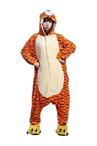 iDream Tier Cosplay Kostüme Tierkostüme Erwachsene Pyjamas Kostüm Pyjamas Schlafanzug Nachtwäsche Kostüm Cosplay Tier kleid Tier Cosplay Anime Damen und Herren gut Geschenk für Kinder und Erwachsene in Weihnachten Halloween Fasching Kinderparty Karneval (Tiger, XL/(Ihre Höhe: 178-188cm))
