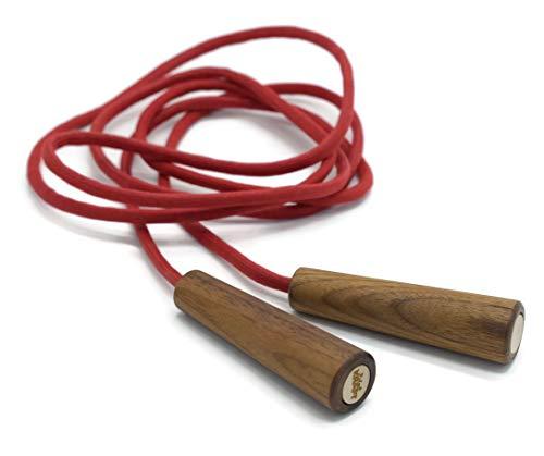 EDELKRAFT® Premium Springseil aus Baumwolle und edlen Walnussgriffen (Rot)
