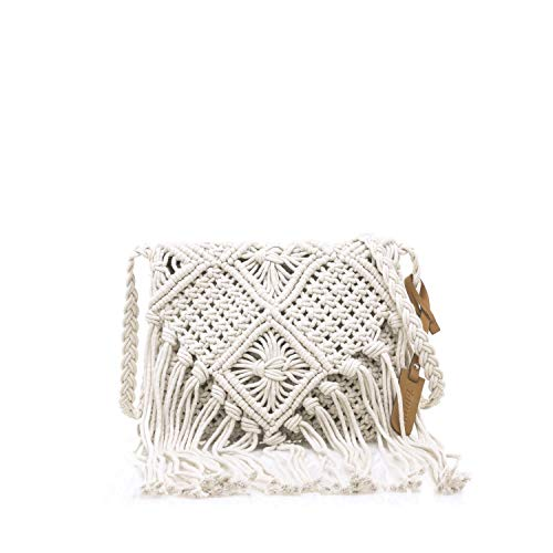 MTNG IRIA, Bolso Bandolera para Mujer, Beige (Crochet Beige), 3x18x24 cm (W x H x L)