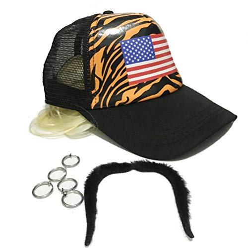 shenruifa 2021 Moda Sombrero de regalo, disfraz de tigre rey peluca adultos rubia pendientes bigote kit cómodo durable Cosplay fiesta suministros