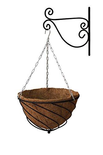 """VegTrug Black Hanging Kit 14"""" Sml (Basket, Liner, Chain and Bracket), 37x37x22 cm"""