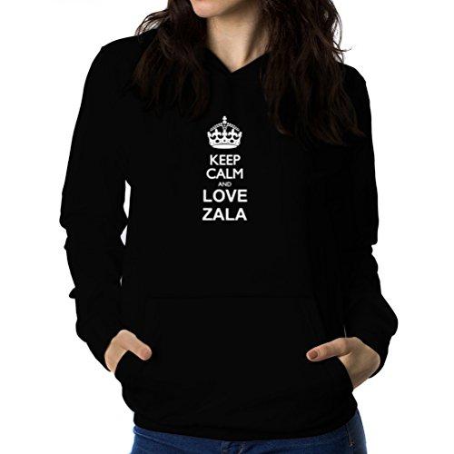 Teeburon Keep Calm and Love Zala Sudadera con Capucha para Mujer