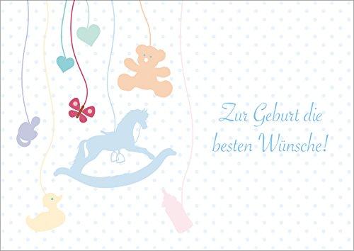 Zur Geburt die besten Wünsche! Klappgrusskarte/Glückwunschkarte/Geburtskarte/Babygrusskarte mit einem Baby Mobile: Schaukelpferd, Fläschchen, Schnuller, Teddy, Bade-Ente ect. (Mit Umschlag) (8)