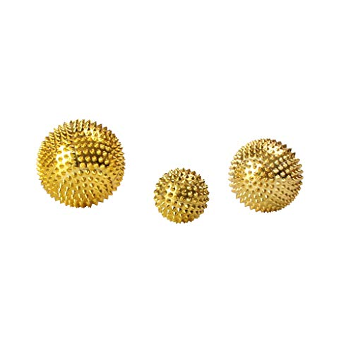 Fenteer 3 Magnet Akupunktur Massage Kugeln Spiky Massage Ball Self Massage Tool - Gold