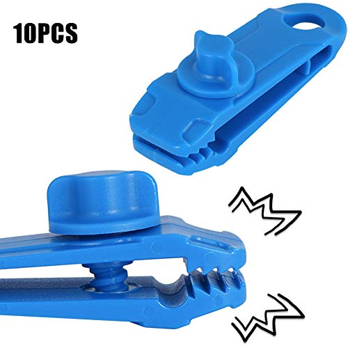 Yimixz 5/10 piezas Heavy Duty Camping Tarp Clips Tent Awning Clamps with Thumb Screw Portable Tool, azul, 10 unidades