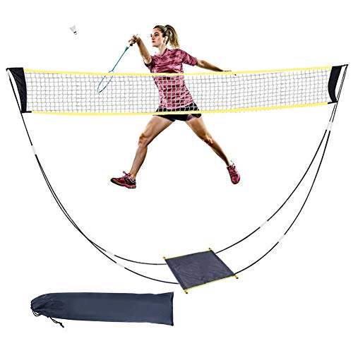 Ajfashion Portable Badminton Net Set with Poles Freestanding Standard Volleyball Tennis Sports Nets with Storage Bag for Outdoor Garden Beach