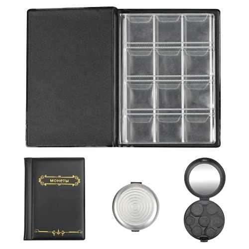 MEZOOM 120 Tasche Album da Collezione di Monete +Scatola Portamonete 7 Scomparti Collezionisti Raccoglitore per Collezione di Monete Conserva Le Monete Collettore Ragazza Ragazzo