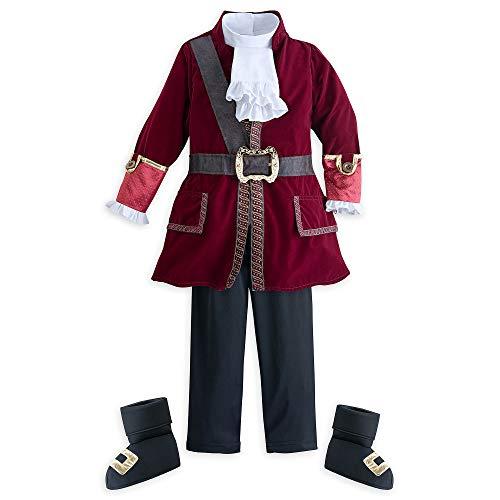 Disney Captain Hook Disfraz para Nios - Peter Pan, Talla 9/10 Rojo