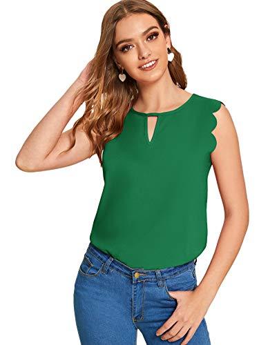 Floerns Women's Casual Sleeveless Cutout Neck Blouse Top Shirt Green M
