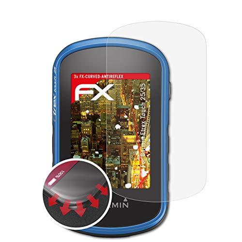atFoliX Schutzfolie kompatibel mit Garmin Etrex Touch 25/35 Folie, entspiegelnde und Flexible FX Displayschutzfolie (3X)