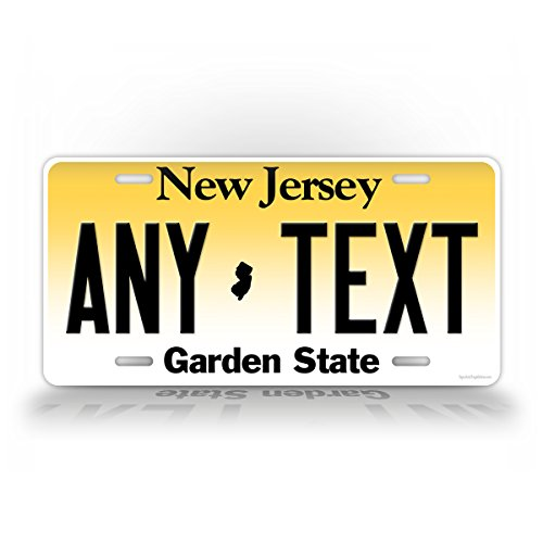 SignsAndTagsOnline Custom New Jersey License Plate Any Text Personalized NJ Metal Auto Tag Aluminum Garden State