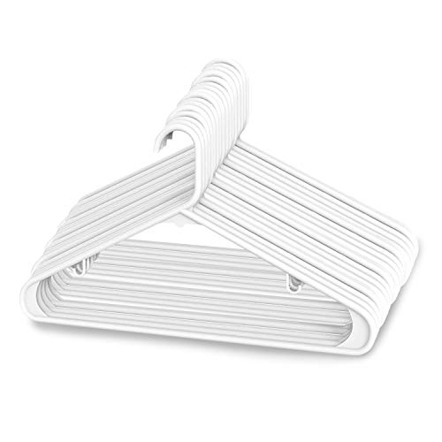 Sharpty Plastic Hangers Clothing Hangers Ideal for Everyday Standard Use (White, 20 Pack)