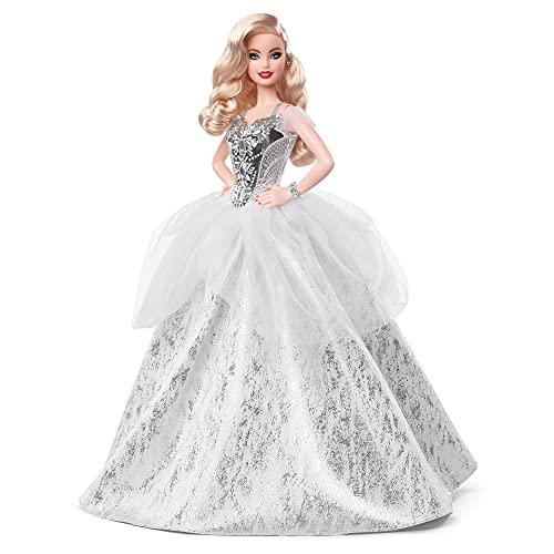 Barbie- Signature Bambola Barbie Magia delle Feste 2021 Bionda con Capelli Ondulati e Abito Argentato, da Collezione, Giocattolo per Bambini 6+Anni, GXL21
