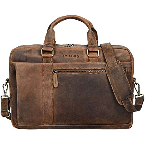 STILORD 'Nico' Large Shoulder Bag Leather Men Women XL Laptop Bag 15.6 inches/College Bag/Portfolio/Shoulder Bag/Satchel/Business Bag Genuine Leather, Colour:Middle Brown