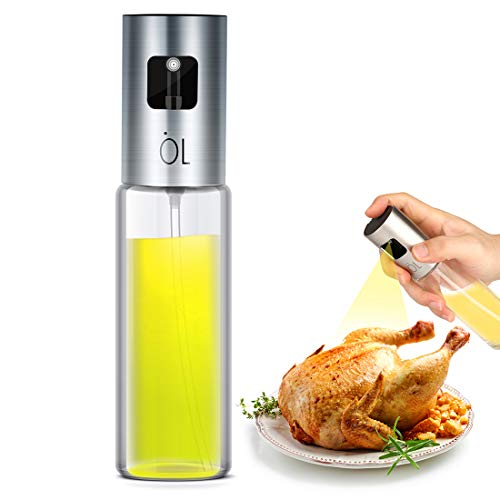 Oil Sprayer for Cooking, Olive Oil Sprayer Mister of Nozzle Upgraded, no Dribbles, Mist More Exquisite, 3.4OZ Capacity Food-Grade, Versatile Glass oil mister for Cooking/BBQ/Roasting/Grilling/baking …