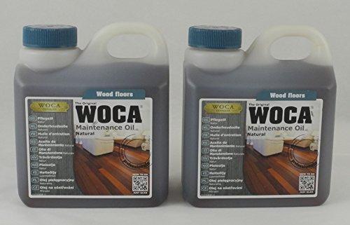 Woca Spar-Set 2x Pflegeöl natur 1 Liter zum Auffrischenvon geölten Holzböden
