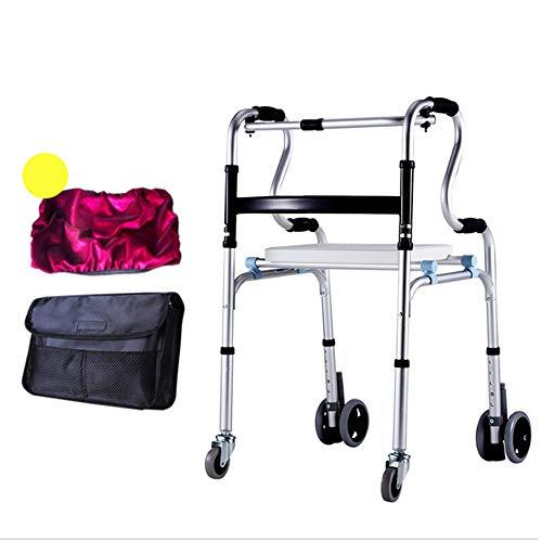 ZLGP Plegable Andador-4 Ruedas Ancianos Caminadores,Walking Frame Caminar con Silla De Baño Y Frenos Robusto Rodillo De Aluminio Adecuado para La Gente Debilidad De La Mano