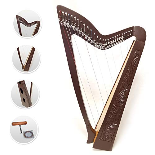 27 Strings lever Brown Harp engraved Celtic design Solid Rosewood ash wood soundboard mono tech nylon strings Brown color extra strings set, Tuning Key Extra Set included