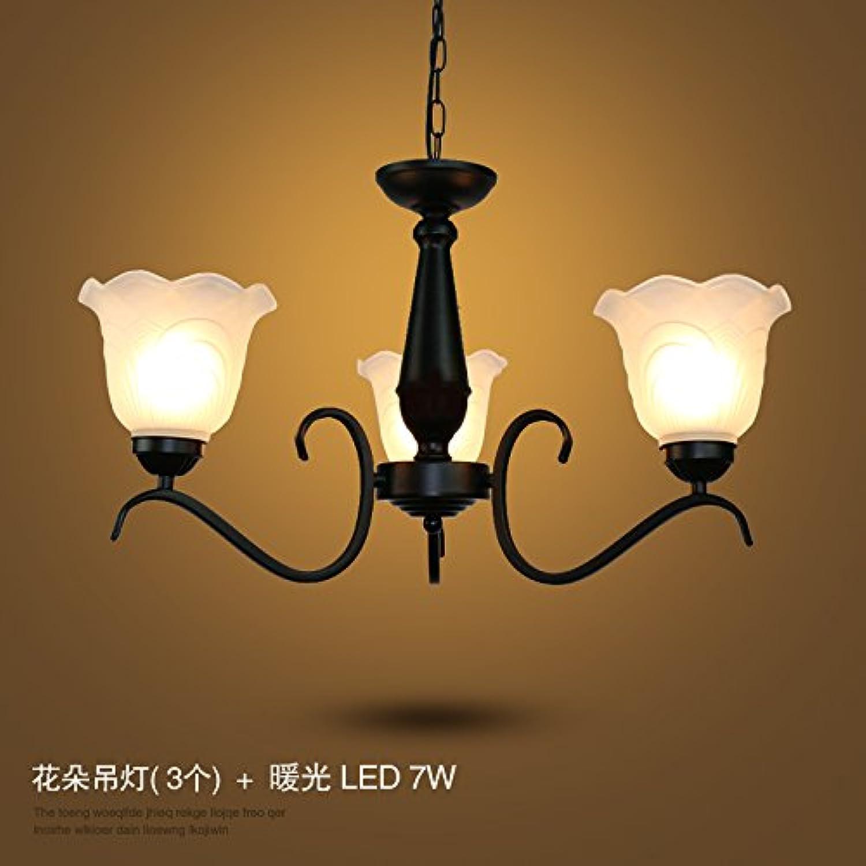 Luckyfree Modern Retro Eisen Pendelleuchte Zimmer Bar Cafe Restaurant Küche Flur Lampen Deckenleuchte Kronleuchter, Blaume Decke (3) + 7 W LED-Lichtquelle