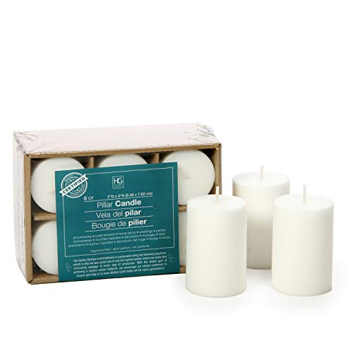 Hosley 2x3 High Pillar Candles, Set of 6. White, Unscented. Bulk Buy, Using a Wax Blend. Ideal for Wedding, Emergency Lanterns, Spa, Aromatherapy, Party, Reiki, Candle Gardens O4