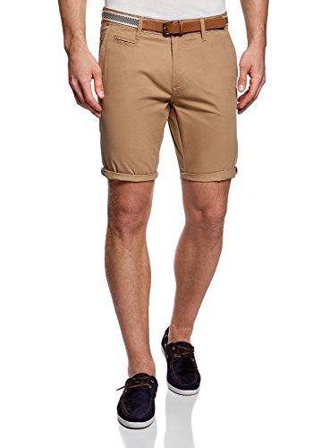 oodji Ultra Hombre Pantalón Corto de Algodón con Cinturón, Beige, 48