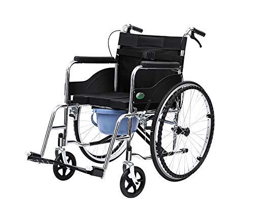CXDM Mehrere Funktions Transport Rollstuhl, Nacht Toilette & Transfer Stuhl Transportstuhl Kommode-Bis Zu 300Lbs