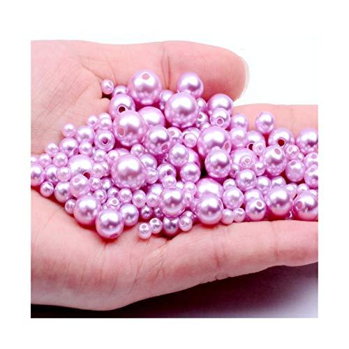 RWEAONT Luz Amatista 3-12 mm Agujeros Rectos Imitación Redonda Perlas de Perlas de plástico para Accesorios de joyería Beads & Ampdiy Jeweltery Fabricación de la decoración (Size : 10mm 1000pcs)