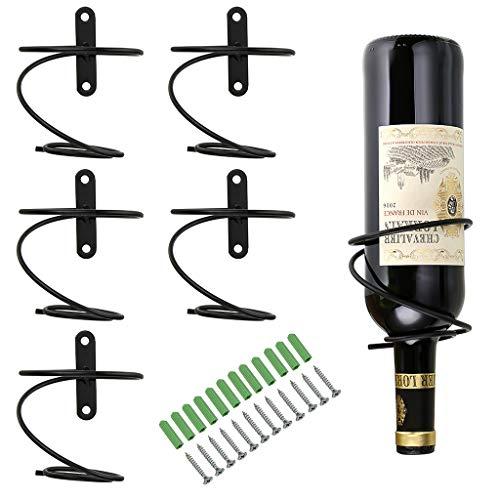 BSTKEY Juego de 6 soportes para botellas de vino de hierro montados en la pared, soporte para botellas de vino tinto para bebidas y licores, organizador colgante de metal, soporte en espiral