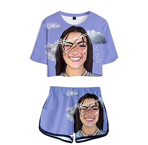LYJNBB Tik Tok Charli D'Amelio T-Shirt, Shorts Anzug für Frauen, Kurze Hülsen-Pullover Tee, Crewneck XS-XXXXL, Best Friend Set Kleidung,8,XS