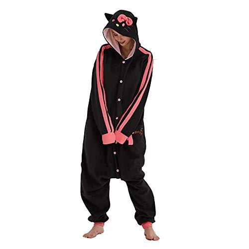 Black Kitty Kigurumis Mujer niña hogar Pijama Animal Gato Mono Polar Polar Onesie Festival Halloween Navidad Lindo Traje
